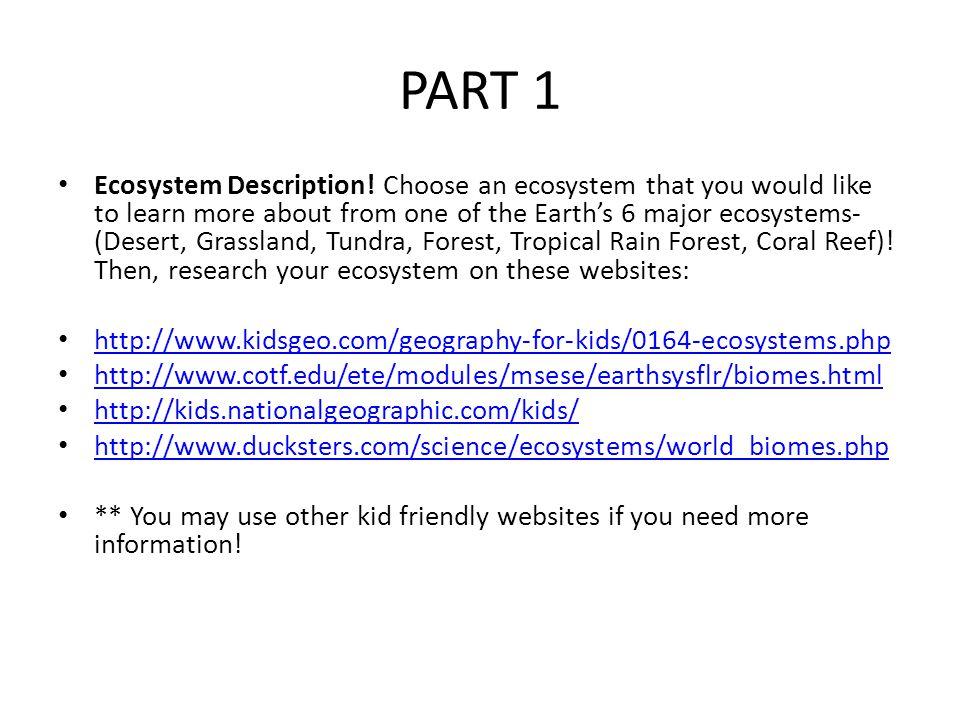 PART 1 Ecosystem Description.