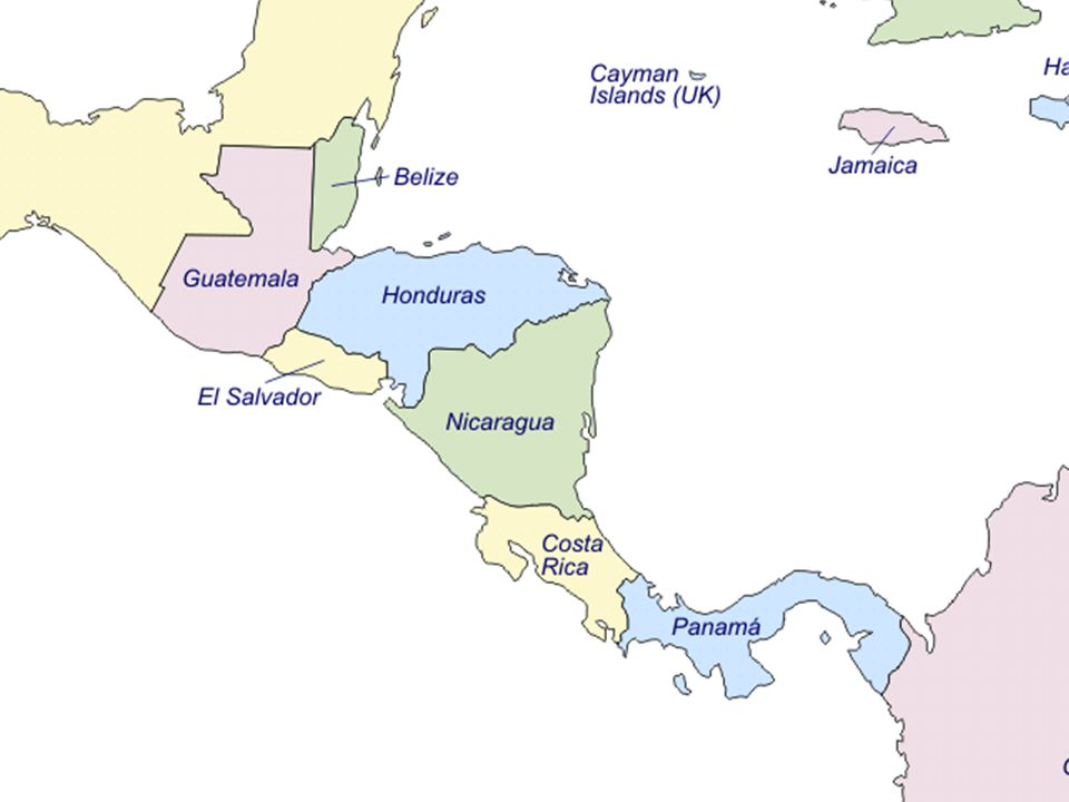Countries of continental Central America and the Caribbean