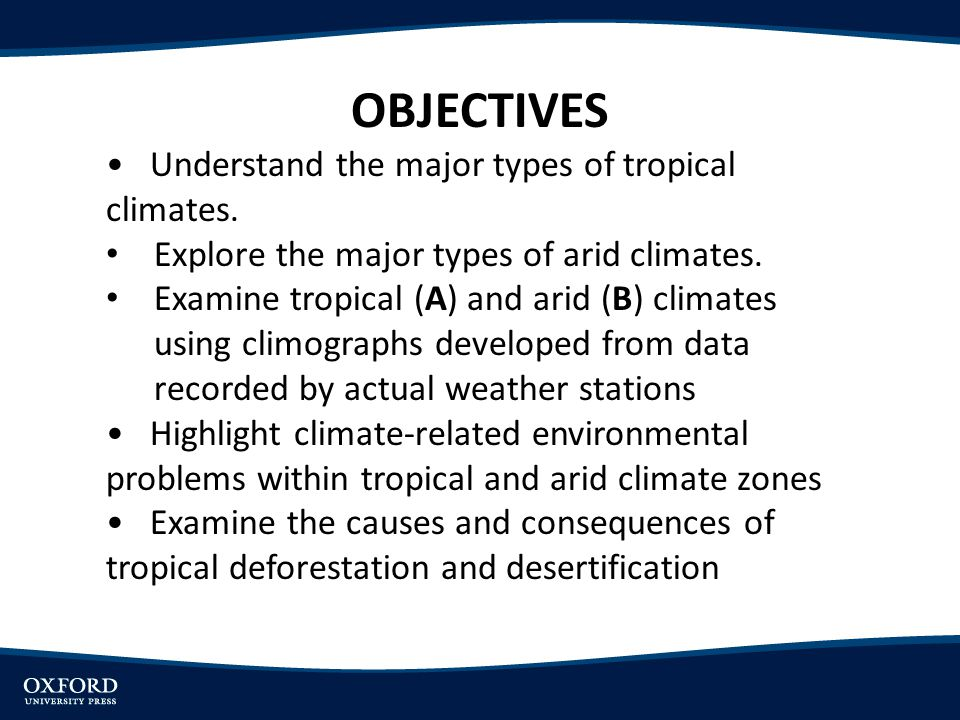 OBJECTIVES Understand the major types of tropical climates. Explore the major types of arid climates. Examine tropical (A) and arid (B) climates using