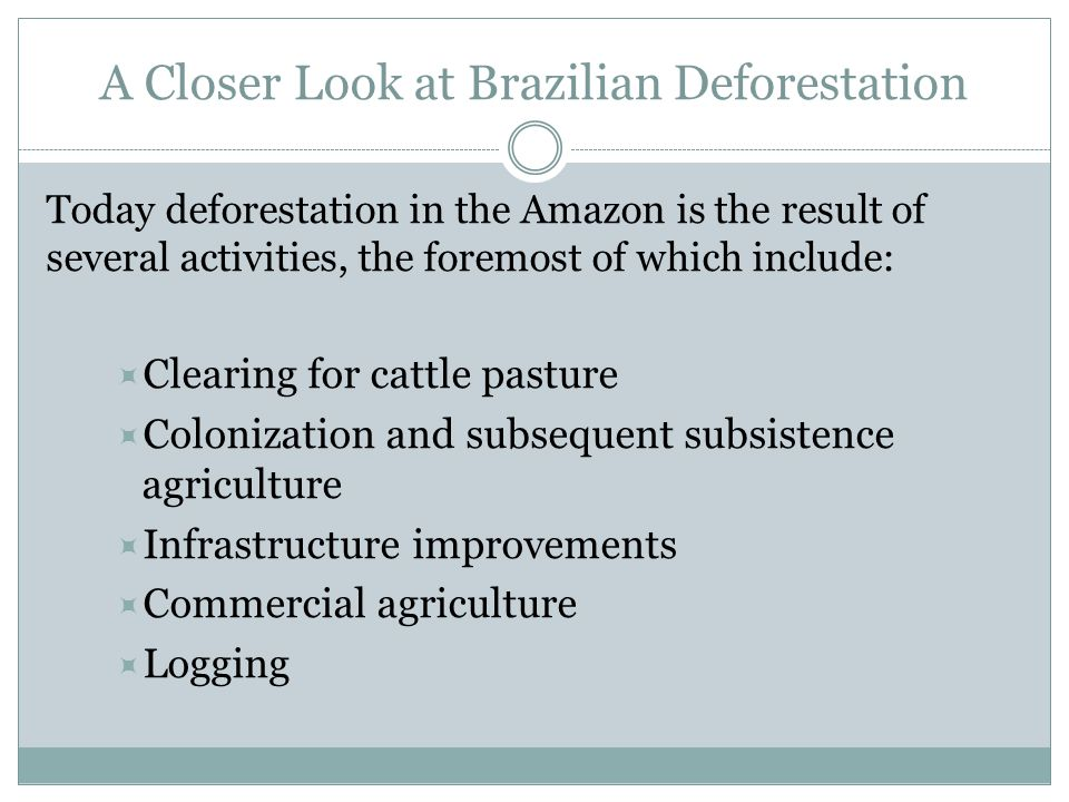A Closer Look at Brazilian Deforestation Today deforestation in the Amazon is the result of several activities, the foremost of which include:  Clearing for cattle pasture  Colonization and subsequent subsistence agriculture  Infrastructure improvements  Commercial agriculture  Logging