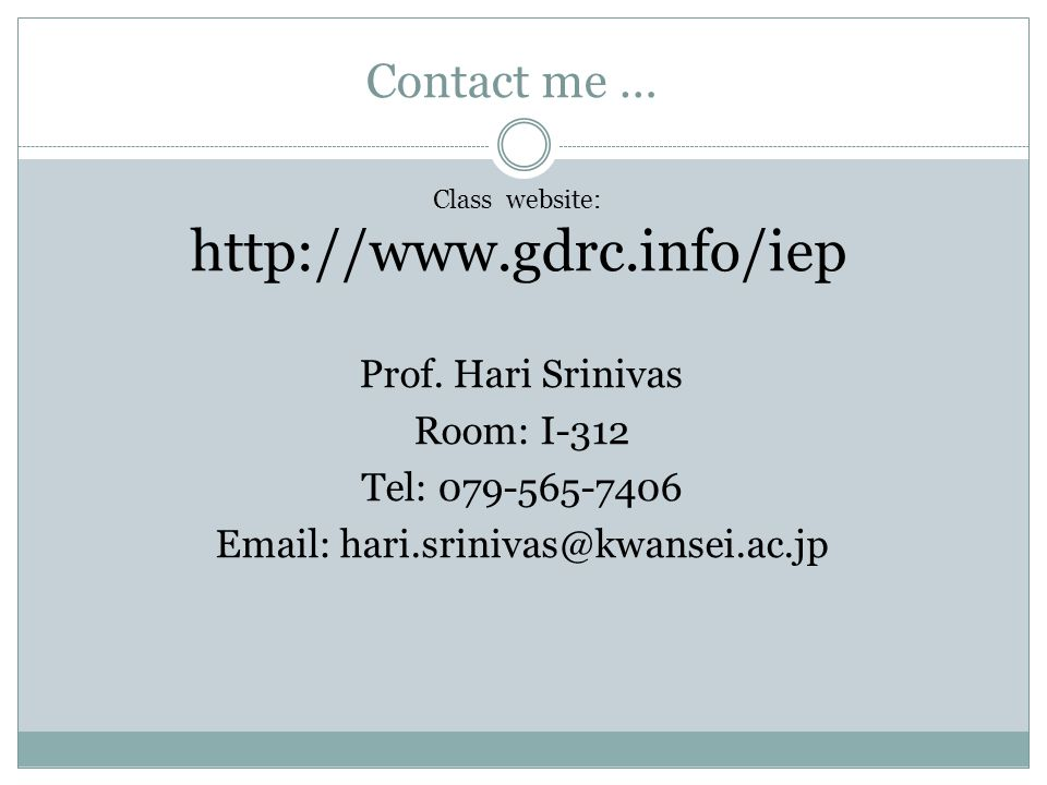 Contact me … Prof.