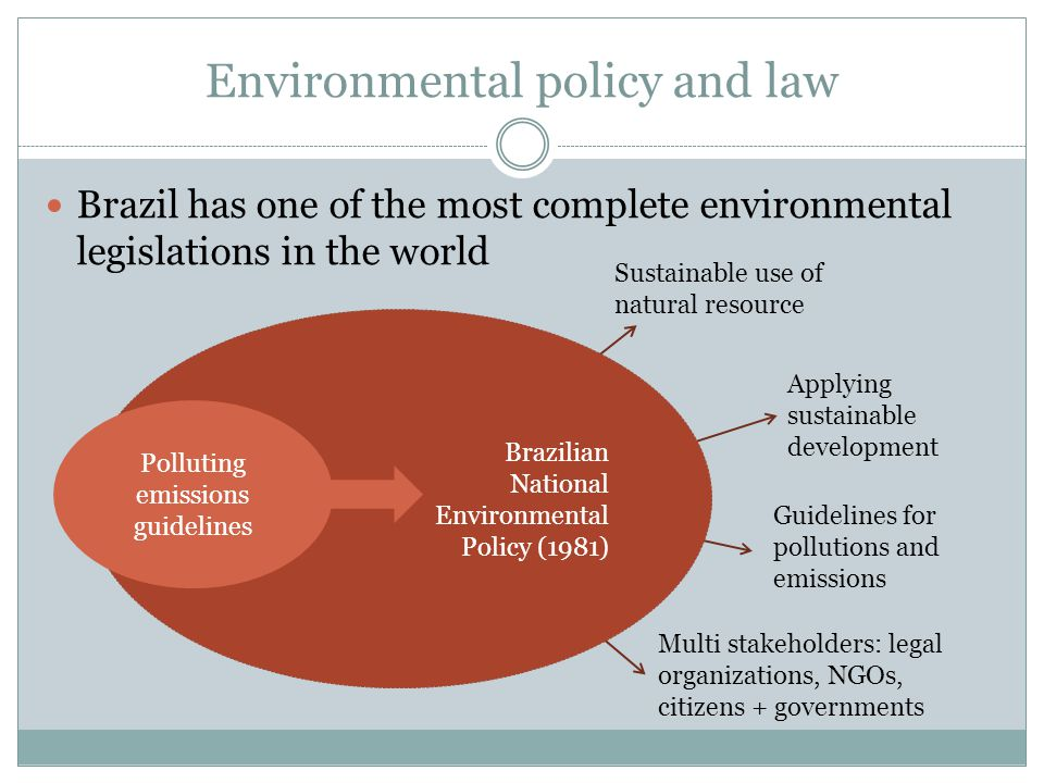 Brazilian National Environmental Policy (1981) Environmental policy and law Brazil has one of the most complete environmental legislations in the world Polluting emissions guidelines Sustainable use of natural resource Applying sustainable development Guidelines for pollutions and emissions Multi stakeholders: legal organizations, NGOs, citizens + governments