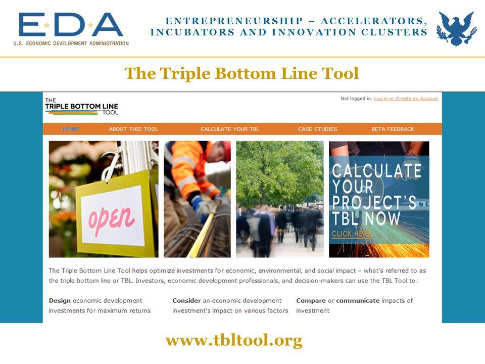 The Triple Bottom Line Tool www.tbltool.org ENTREPRENEURSHIP – ACCELERATORS, INCUBATORS AND INNOVATION CLUSTERS