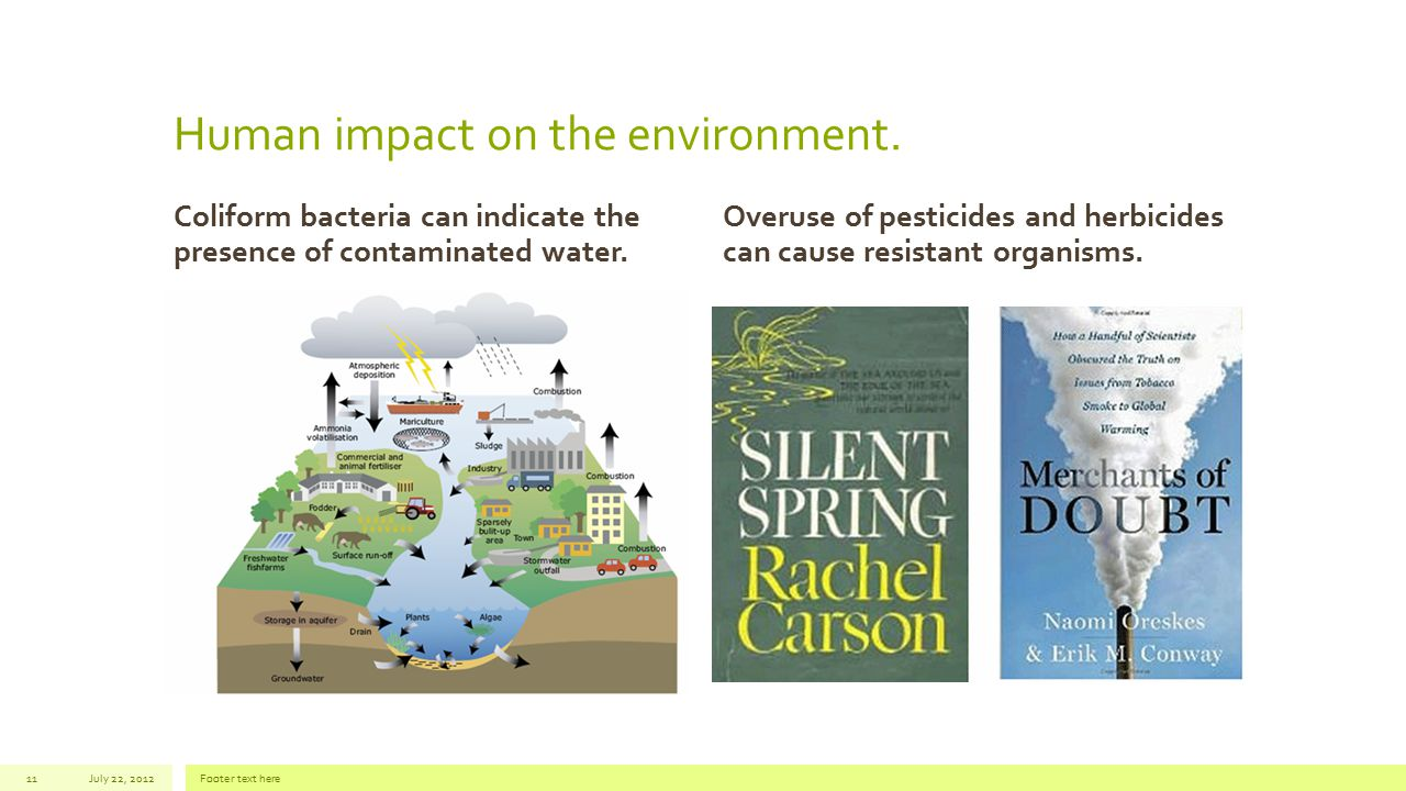 Human impact on the environment. Coliform bacteria can indicate the presence of contaminated water. Overuse of pesticides and herbicides can cause res