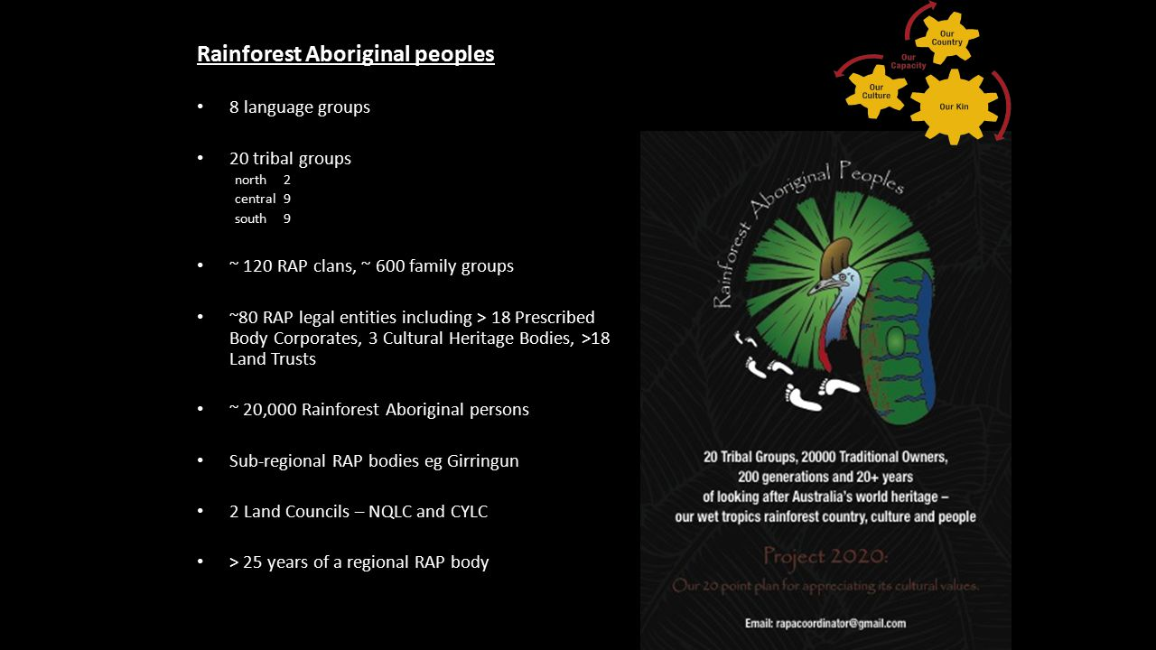 Rainforest Aboriginal peoples 8 language groups 20 tribal groups north 2 central 9 south9 ~ 120 RAP clans, ~ 600 family groups ~80 RAP legal entities including > 18 Prescribed Body Corporates, 3 Cultural Heritage Bodies, >18 Land Trusts ~ 20,000 Rainforest Aboriginal persons Sub-regional RAP bodies eg Girringun 2 Land Councils – NQLC and CYLC > 25 years of a regional RAP body