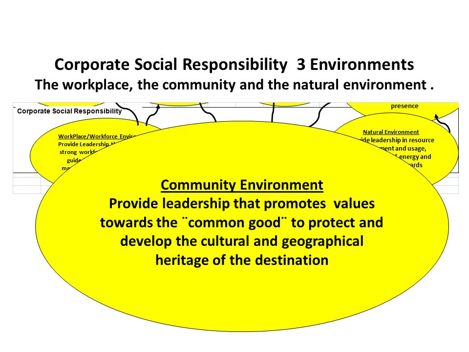 Corporate Social Responsibility 3 Environments The workplace, the community and the natural environment.