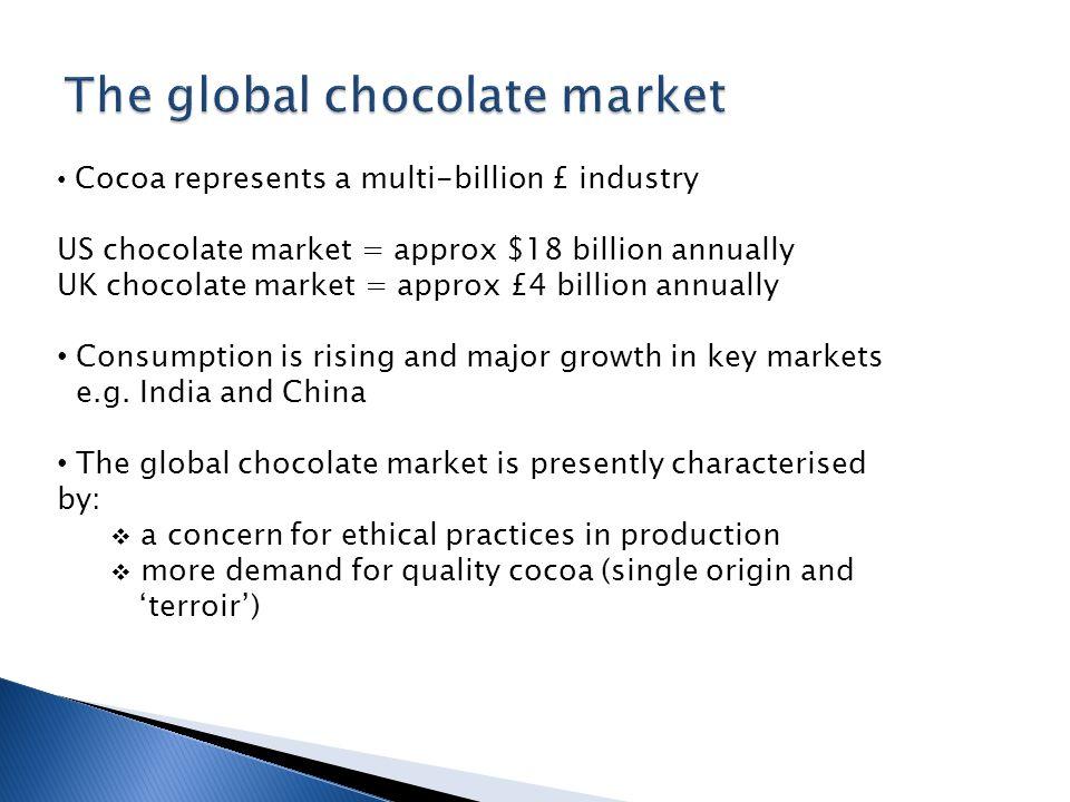 Cocoa represents a multi-billion £ industry US chocolate market = approx $18 billion annually UK chocolate market = approx £4 billion annually Consump