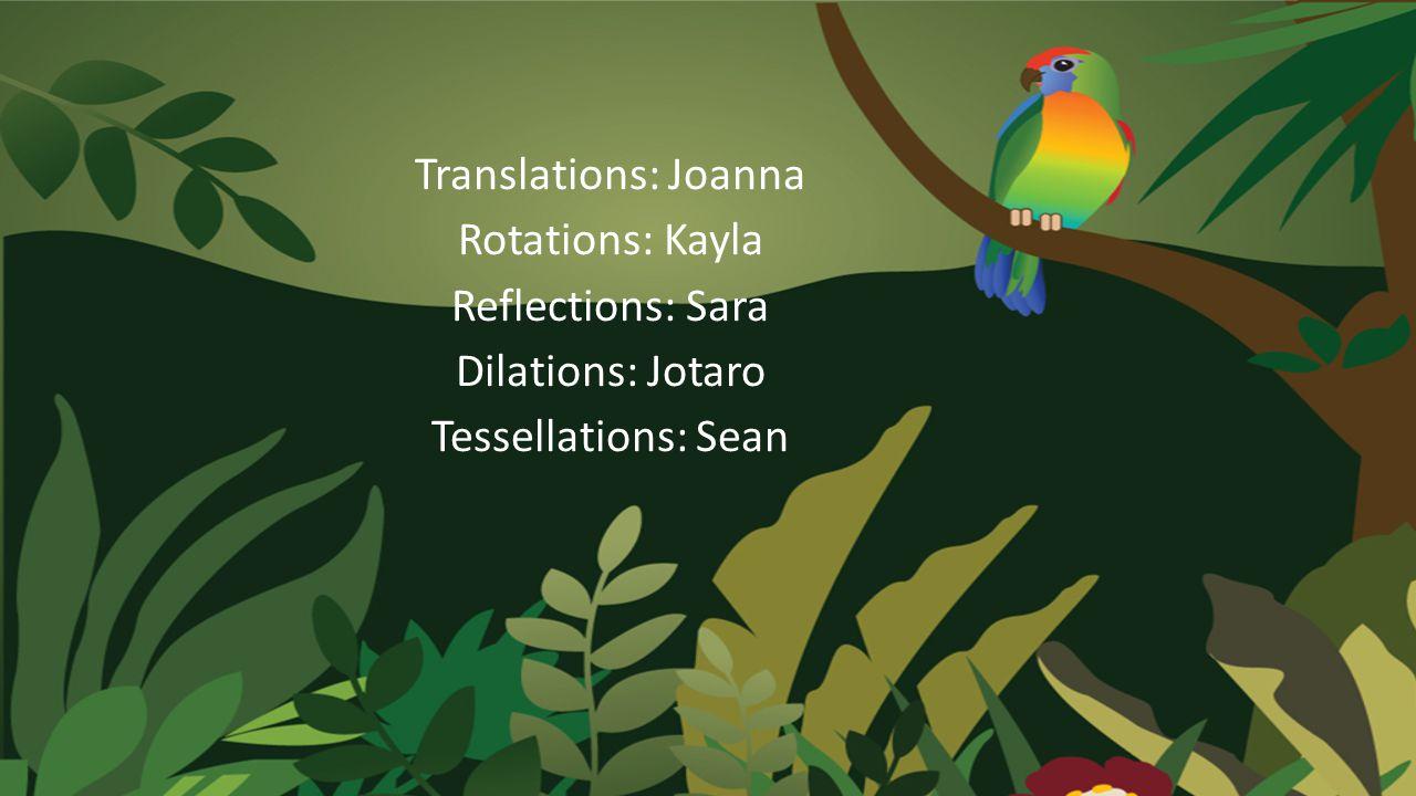 Translations: Joanna Rotations: Kayla Reflections: Sara Dilations: Jotaro Tessellations: Sean