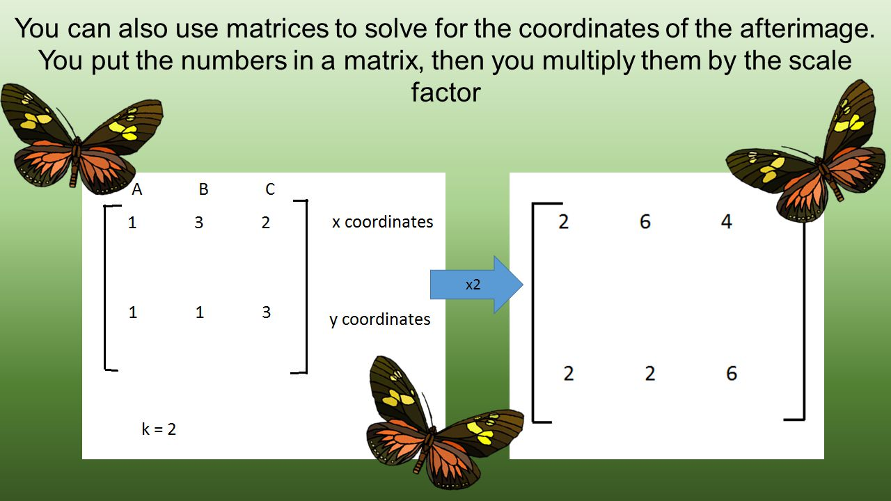 You can also use matrices to solve for the coordinates of the afterimage. You put the numbers in a matrix, then you multiply them by the scale factor.