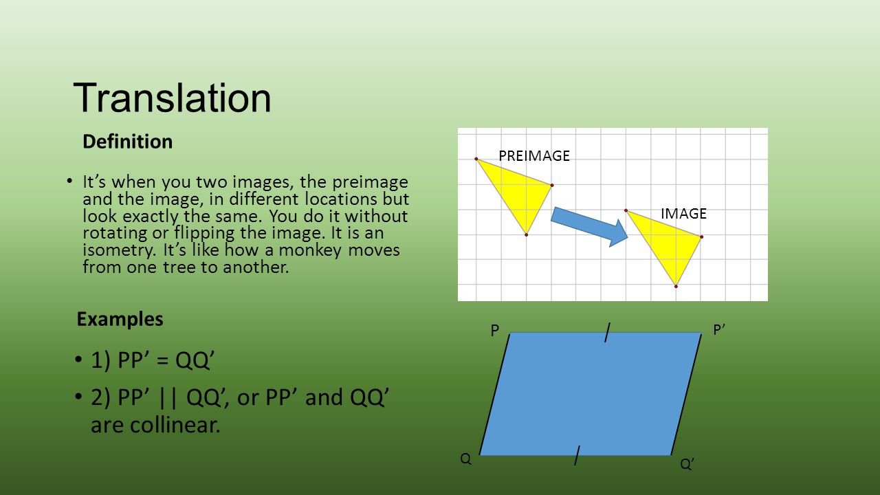 Translation Definition It's when you two images, the preimage and the image, in different locations but look exactly the same. You do it without rotat