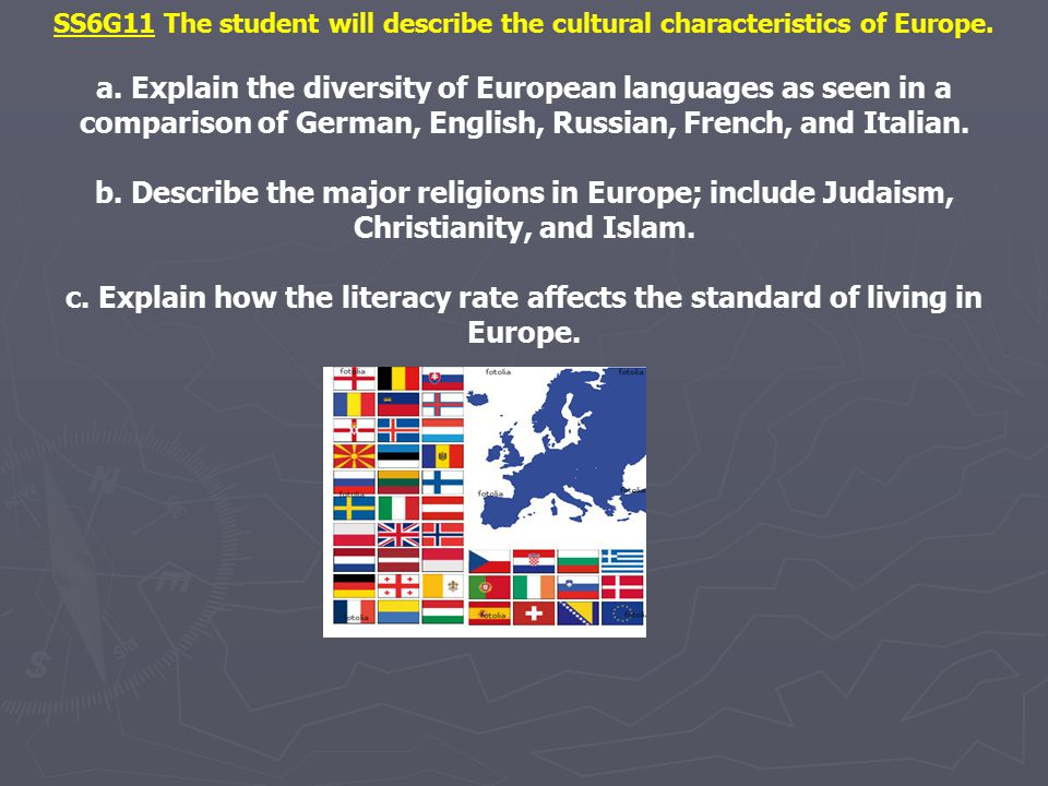 SS6G11 The student will describe the cultural characteristics of Europe. a. Explain the diversity of European languages as seen in a comparison of Ger
