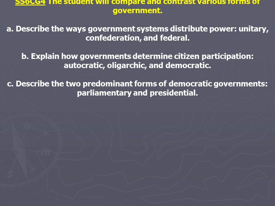 SS6CG4 The student will compare and contrast various forms of government. a. Describe the ways government systems distribute power: unitary, confedera