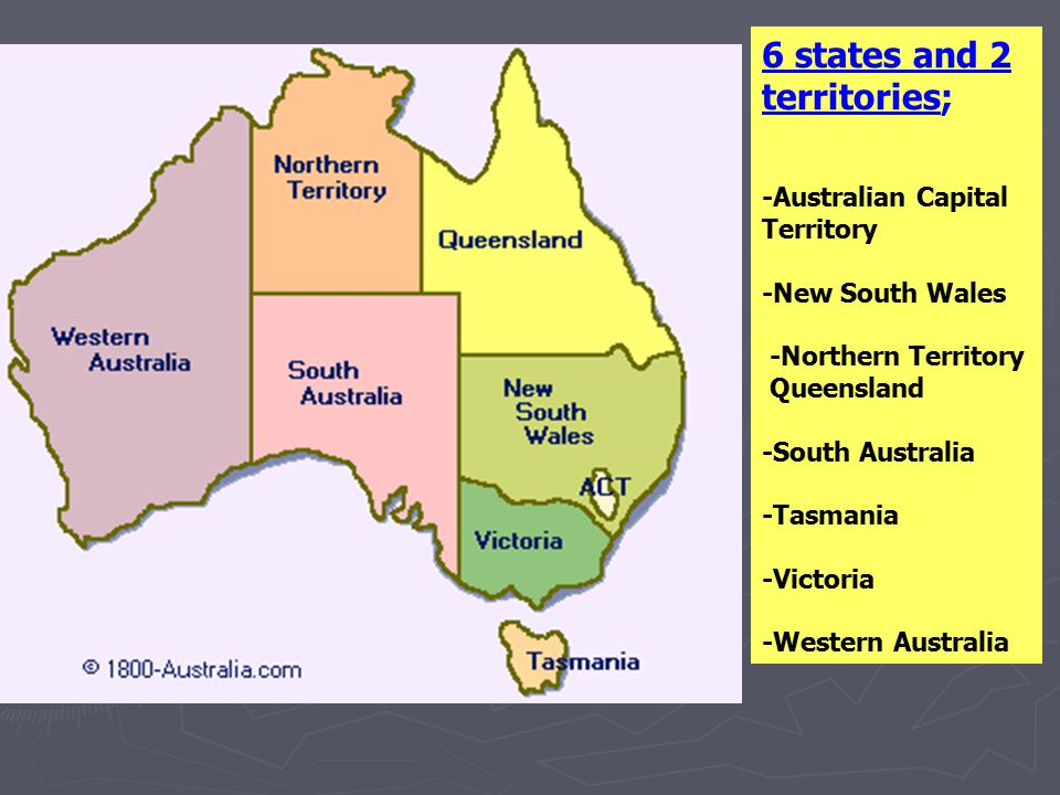 6 states and 2 territories; -Australian Capital Territory -New South Wales -Northern Territory Queensland -South Australia -Tasmania -Victoria -Wester