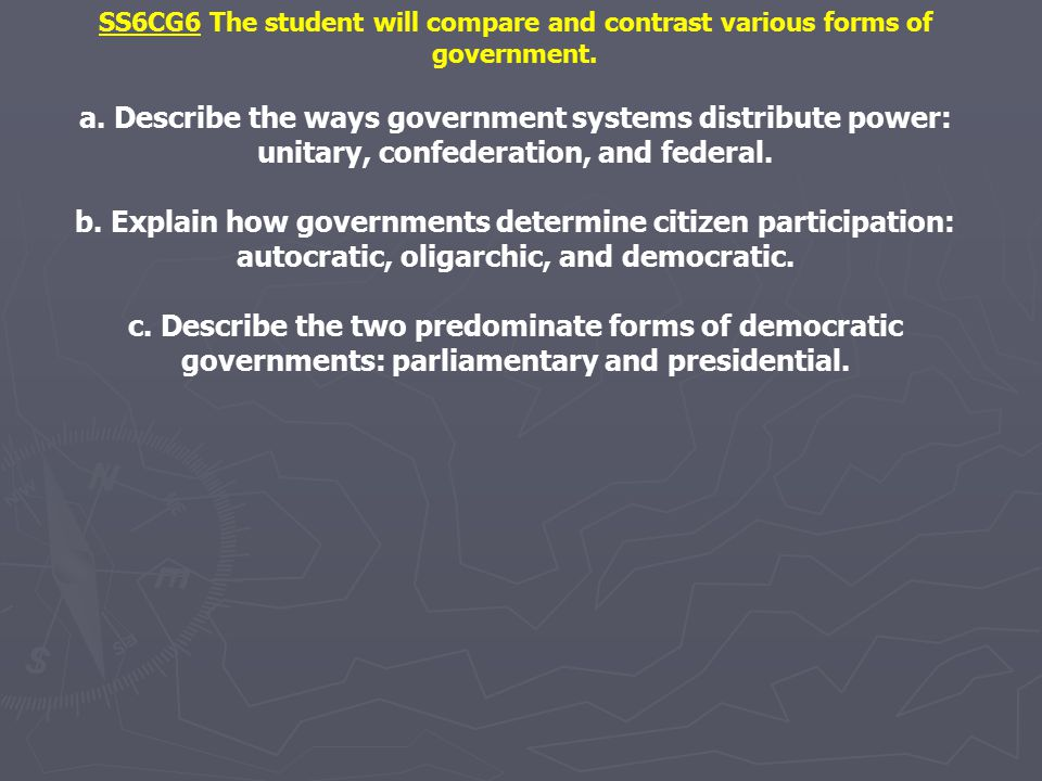 SS6CG6 The student will compare and contrast various forms of government. a. Describe the ways government systems distribute power: unitary, confedera