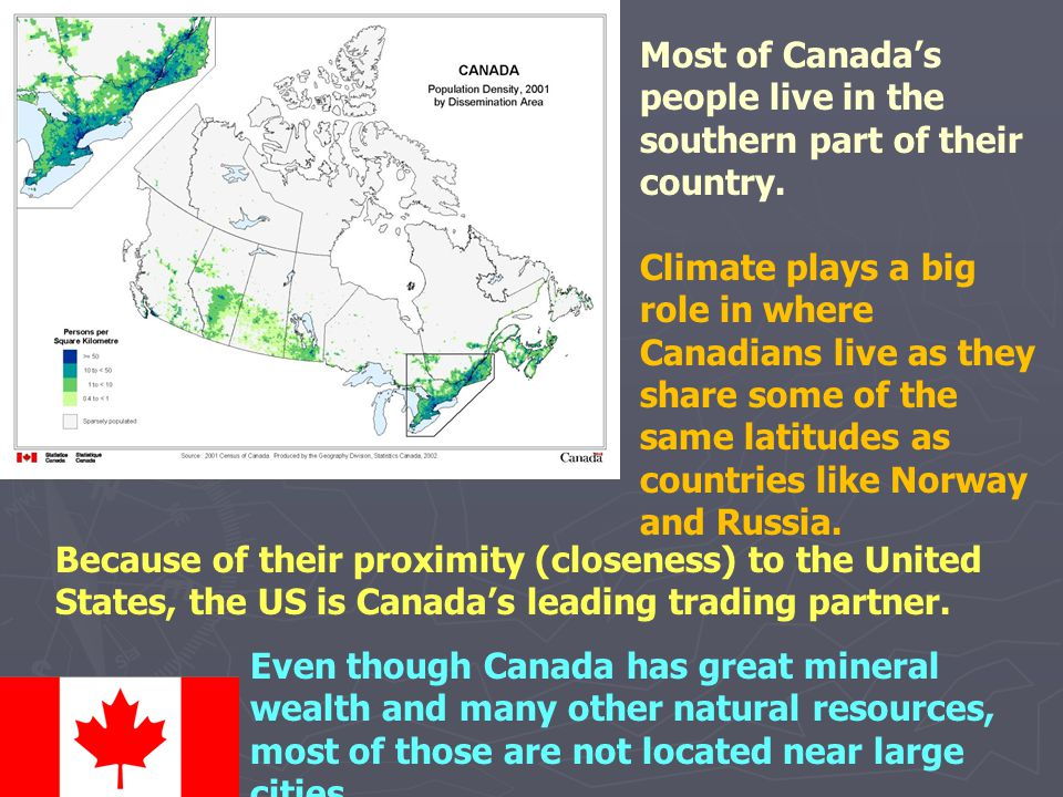 Most of Canada's people live in the southern part of their country. Climate plays a big role in where Canadians live as they share some of the same la