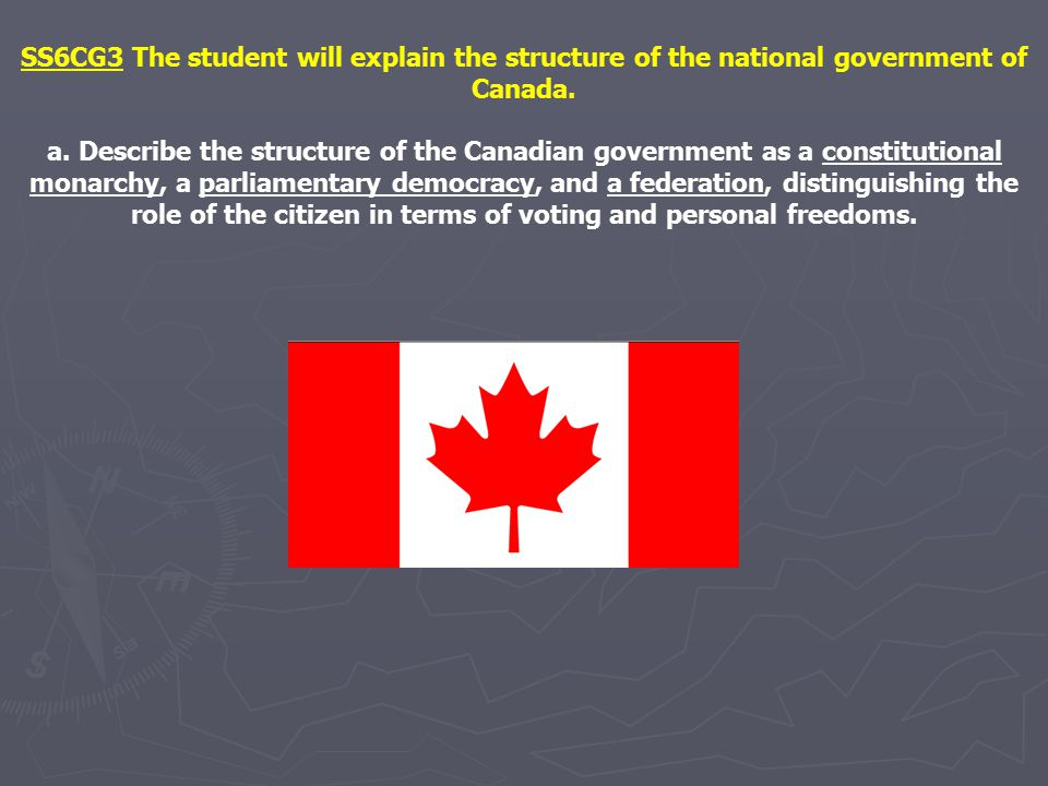 SS6CG3 The student will explain the structure of the national government of Canada. a. Describe the structure of the Canadian government as a constitu