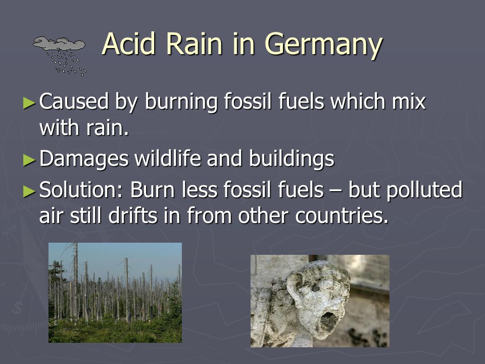 Acid Rain in Germany ► Caused by burning fossil fuels which mix with rain. ► Damages wildlife and buildings ► Solution: Burn less fossil fuels – but p