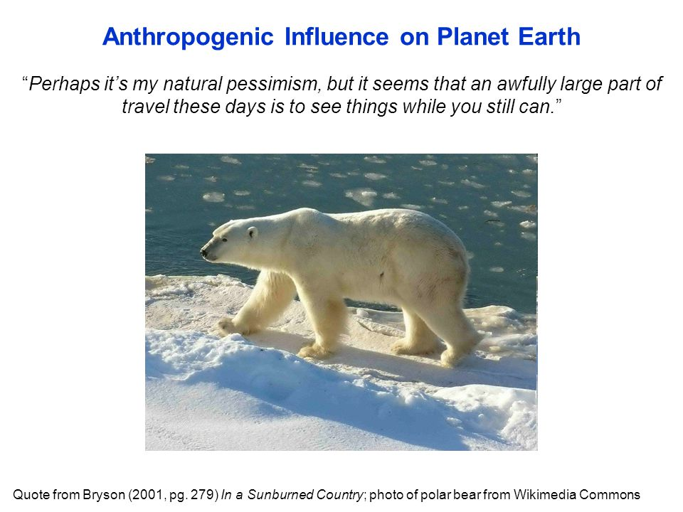 """""""Perhaps it's my natural pessimism, but it seems that an awfully large part of travel these days is to see things while you still can."""" Anthropogenic"""