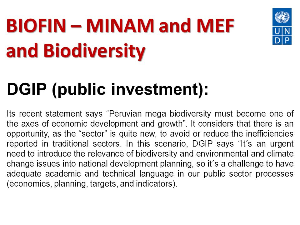 BIOFIN – MINAM and MEF and Biodiversity DGIP (public investment): Its recent statement says Peruvian mega biodiversity must become one of the axes of economic development and growth .