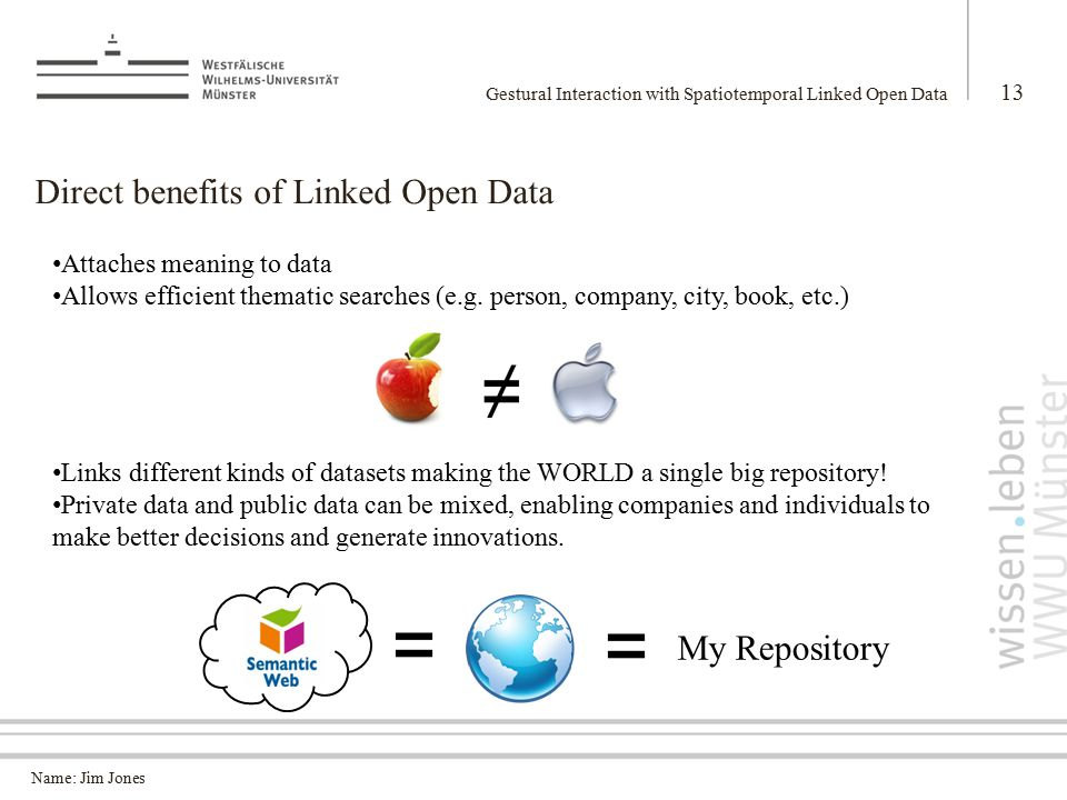 Name: Jim Jones Direct benefits of Linked Open Data Gestural Interaction with Spatiotemporal Linked Open Data 13 Attaches meaning to data Allows efficient thematic searches (e.g.