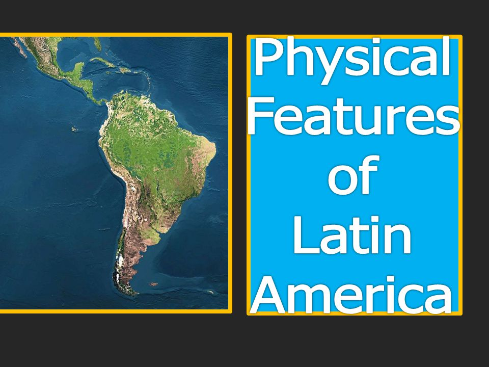 Longest mountain chain in the world  4,500 miles in length  Runs north to south along the west coast of South America Found in Venezuela, Columbia, Peru, Ecuador, Chile, Bolivia, and Argentina Mount Aconcagua is the highest peak at 22,835 feet