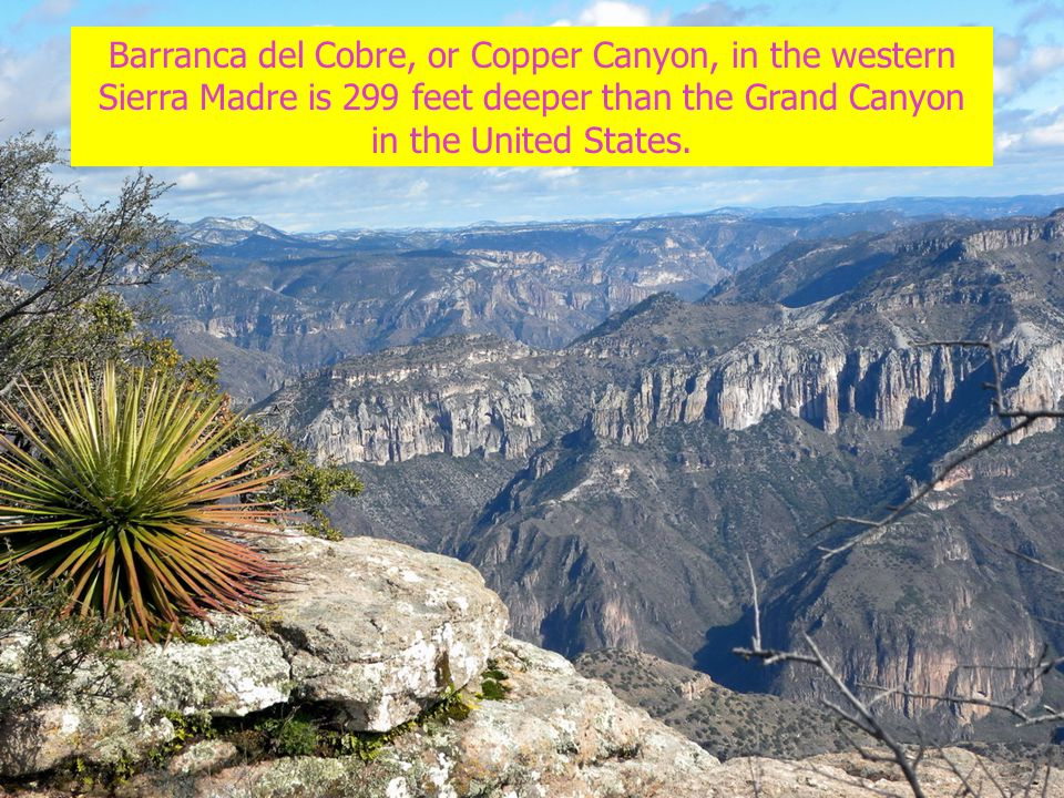 Barranca del Cobre, or Copper Canyon, in the western Sierra Madre is 299 feet deeper than the Grand Canyon in the United States.