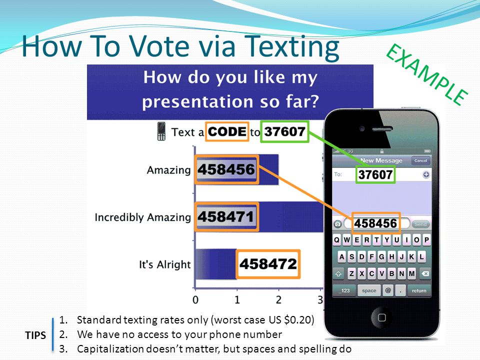 How To Vote via Texting 1.Standard texting rates only (worst case US $0.20) 2.We have no access to your phone number 3.Capitalization doesn't matter, but spaces and spelling do TIPS EXAMPLE