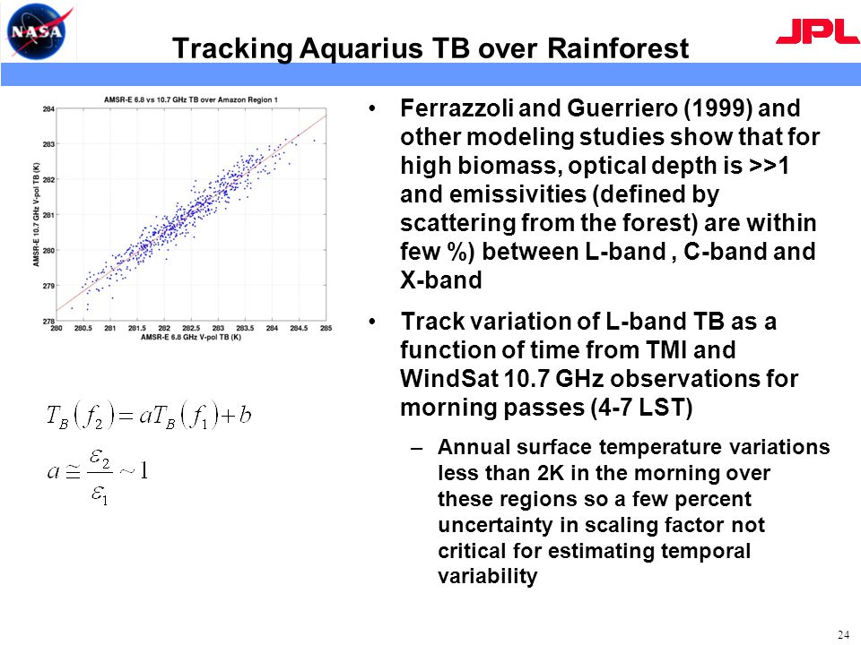 Tracking Aquarius TB over Rainforest Ferrazzoli and Guerriero (1999) and other modeling studies show that for high biomass, optical depth is >>1 and emissivities (defined by scattering from the forest) are within few %) between L-band, C-band and X-band Track variation of L-band TB as a function of time from TMI and WindSat 10.7 GHz observations for morning passes (4-7 LST) –Annual surface temperature variations less than 2K in the morning over these regions so a few percent uncertainty in scaling factor not critical for estimating temporal variability 24