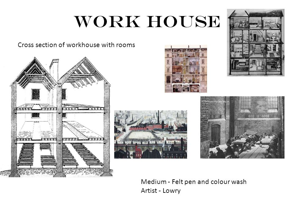 Work House Cross section of workhouse with rooms Medium - Felt pen and colour wash Artist - Lowry