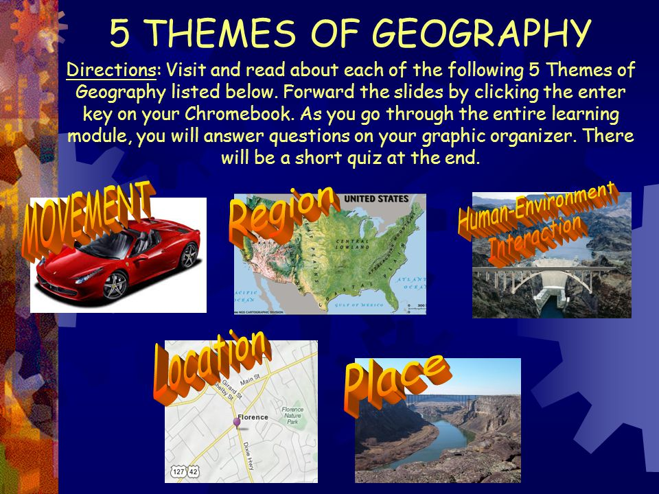 Directions: Visit and read about each of the following 5 Themes of Geography listed below. Forward the slides by clicking the enter key on your Chrome
