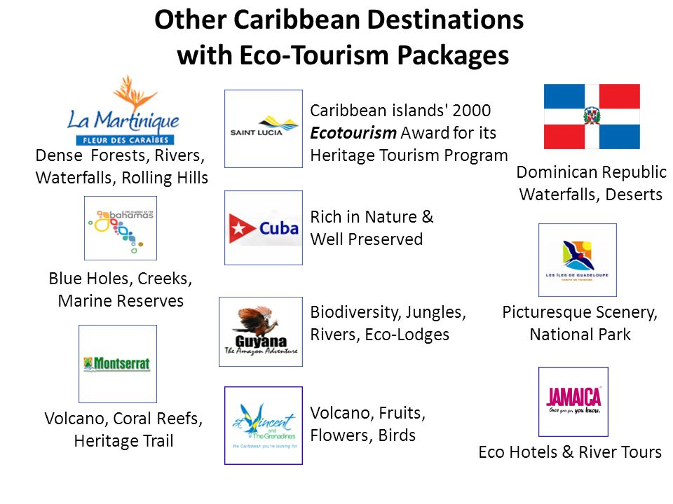 Other Caribbean Destinations with Eco-Tourism Packages Blue Holes, Creeks, Marine Reserves Dense Forests, Rivers, Waterfalls, Rolling Hills Rich in Nature & Well Preserved Caribbean islands 2000 Ecotourism Award for its Heritage Tourism Program Volcano, Coral Reefs, Heritage Trail Picturesque Scenery, National Park Eco Hotels & River Tours Volcano, Fruits, Flowers, Birds Biodiversity, Jungles, Rivers, Eco-Lodges Dominican Republic Waterfalls, Deserts