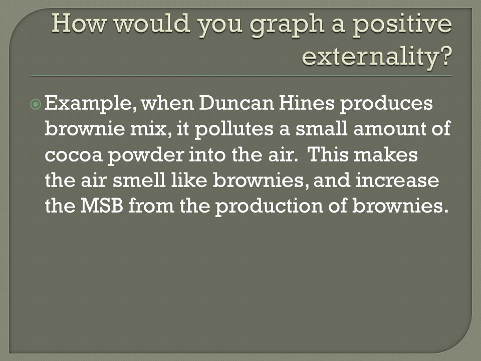  Example, when Duncan Hines produces brownie mix, it pollutes a small amount of cocoa powder into the air.