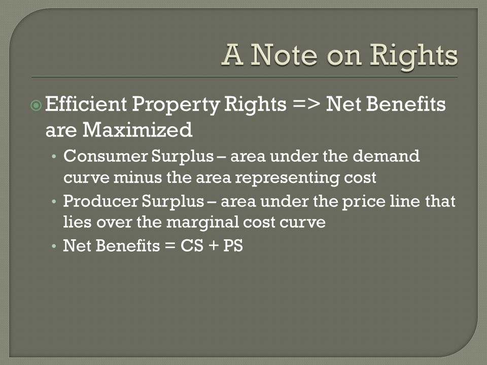  Efficient Property Rights => Net Benefits are Maximized Consumer Surplus – area under the demand curve minus the area representing cost Producer Surplus – area under the price line that lies over the marginal cost curve Net Benefits = CS + PS