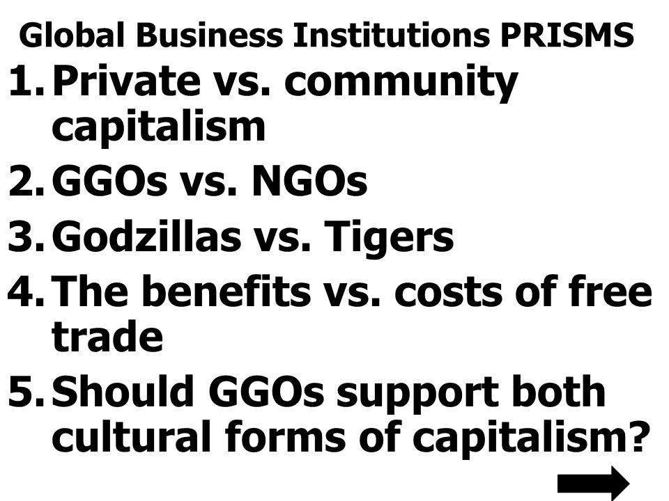 Global Business Institutions PRISMS 1.Private vs. community capitalism 2.GGOs vs. NGOs 3.Godzillas vs. Tigers 4.The benefits vs. costs of free trade 5