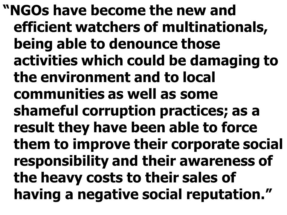 """""""NGOs have become the new and efficient watchers of multinationals, being able to denounce those activities which could be damaging to the environment"""
