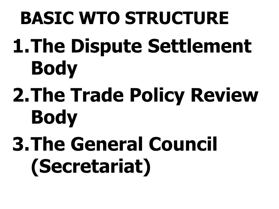 BASIC WTO STRUCTURE 1.The Dispute Settlement Body 2.The Trade Policy Review Body 3.The General Council (Secretariat)