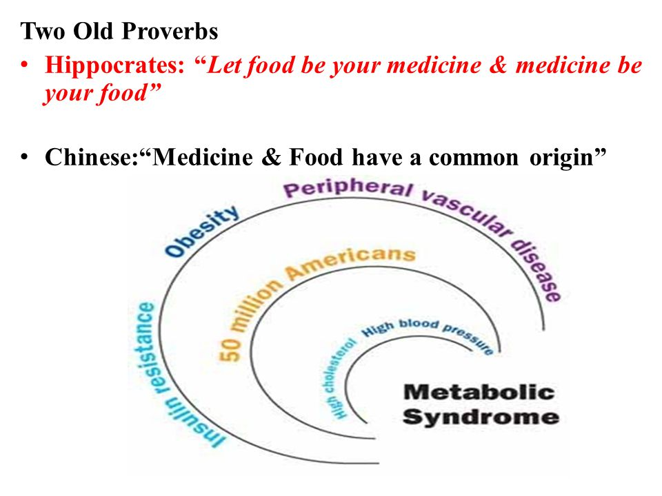 Two Old Proverbs Hippocrates: Let food be your medicine & medicine be your food Chinese: Medicine & Food have a common origin