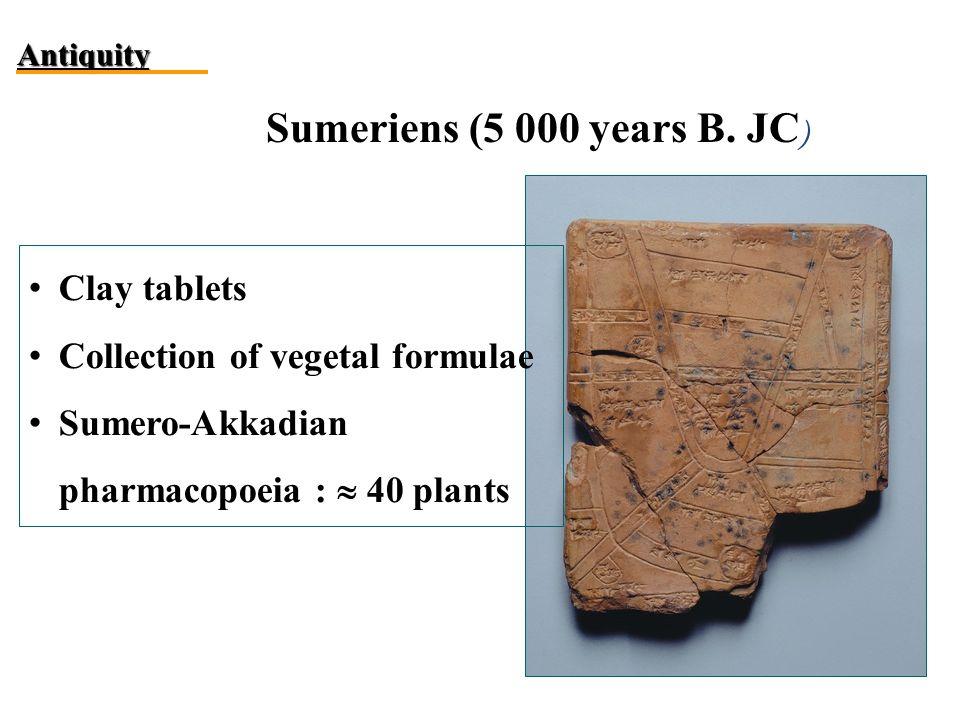 Sumeriens (5 000 years B. JC ) Antiquity Clay tablets Collection of vegetal formulae Sumero-Akkadian pharmacopoeia :  40 plants