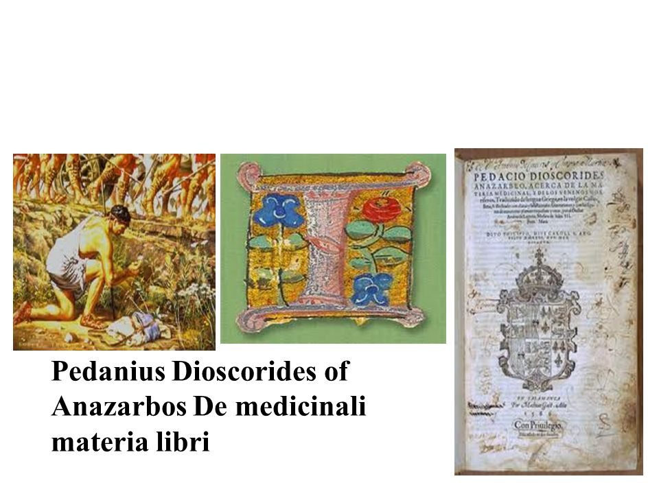 Pedanius Dioscorides of Anazarbos De medicinali materia libri