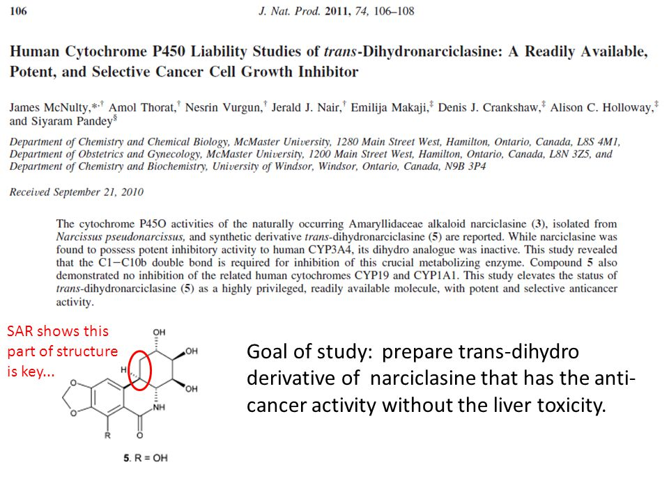Goal of study: prepare trans-dihydro derivative of narciclasine that has the anti- cancer activity without the liver toxicity. SAR shows this part of