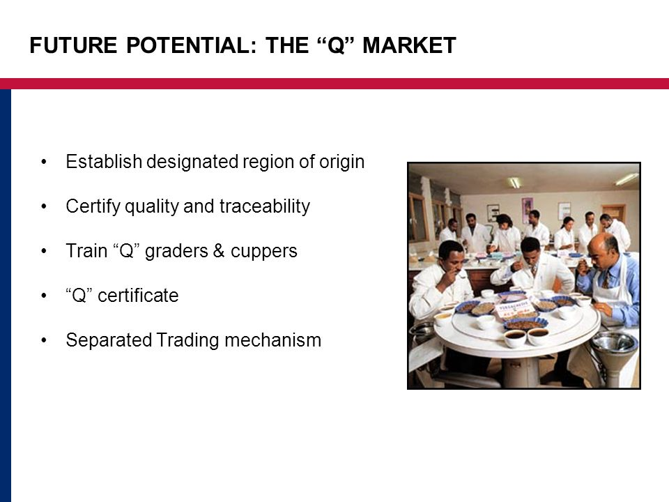 FUTURE POTENTIAL: THE Q MARKET Establish designated region of origin Certify quality and traceability Train Q graders & cuppers Q certificate Separated Trading mechanism