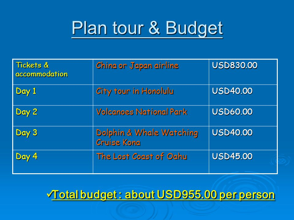 Plan tour & Budget Tickets & accommodation China or Japan airline USD830.00 Day 1 City tour in Honolulu USD40.00 Day 2 Volcanoes National Park USD60.00 Day 3 Dolphin & Whale Watching Cruise Kona USD40.00 Day 4 The Lost Coast of Oahu USD45.00 Total budget : about USD955.00 per person Total budget : about USD955.00 per person