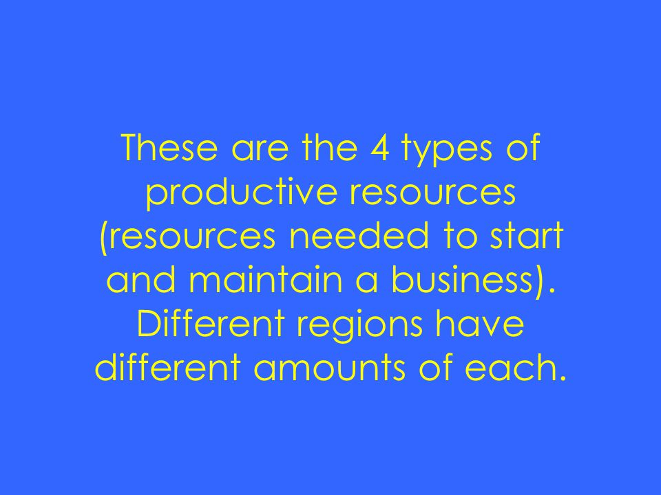 These are the 4 types of productive resources (resources needed to start and maintain a business).