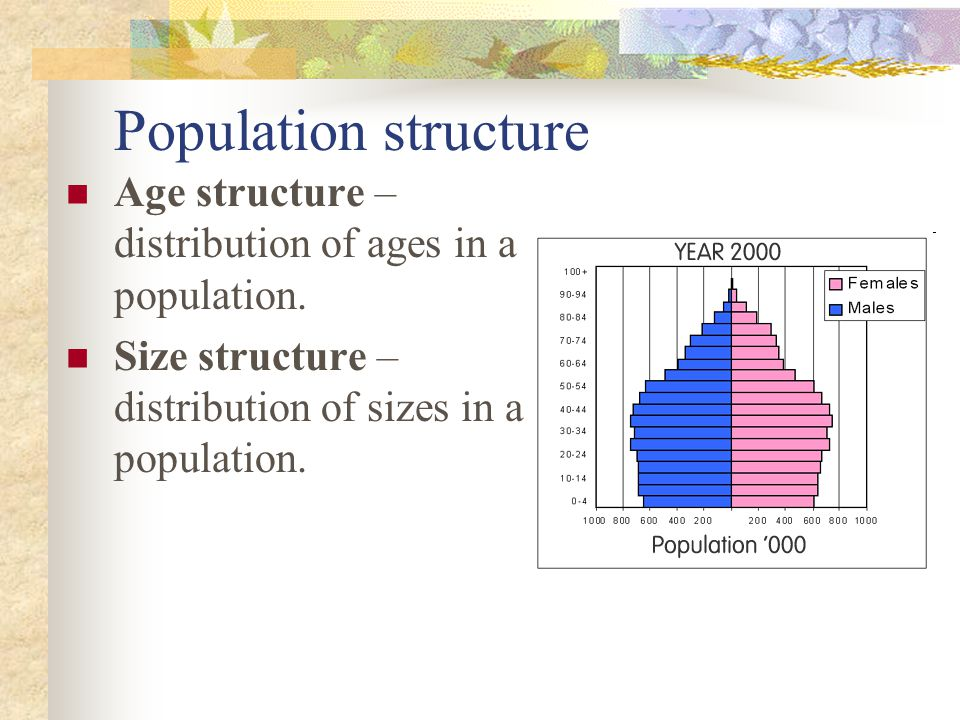 Population structure Age structure – distribution of ages in a population. Size structure – distribution of sizes in a population.