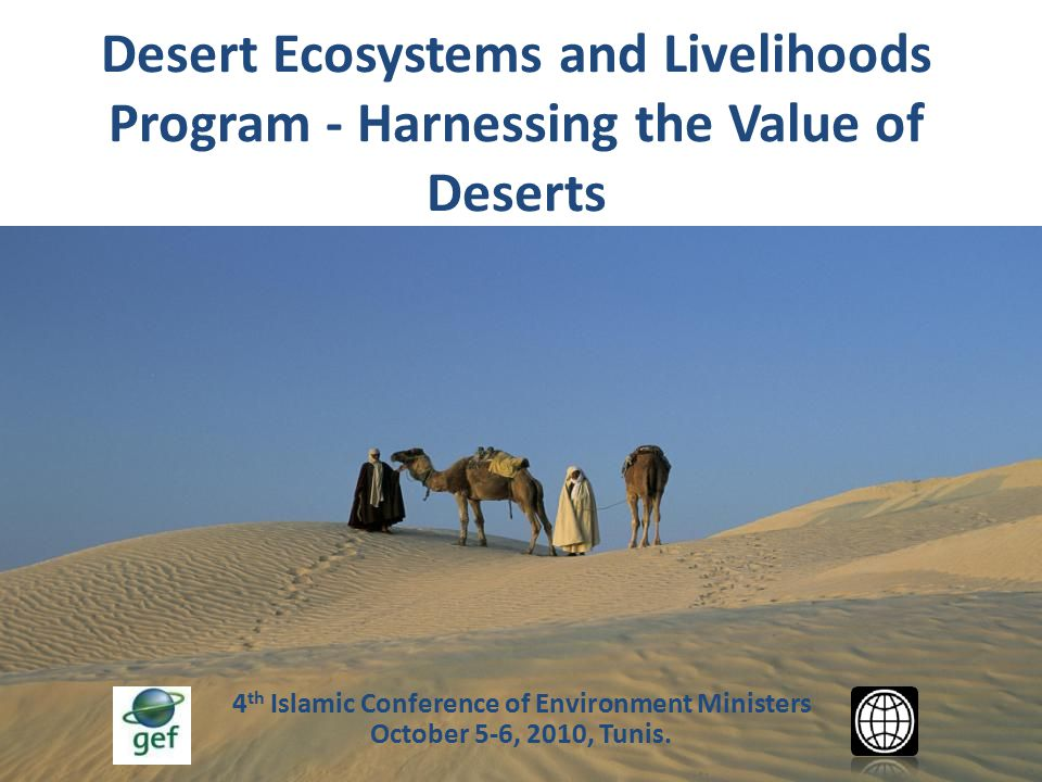 Introducing the MENA-DELP  Goal: To capture and harness the value of desert ecosystems in providing goods and services for sustainable development  Specific Objectives: 1.To assess the value of deserts and identify value hotspots 2.To highlight deserts as a major global natural heritage 3.To enhance desert production systems and livelihoods 4.To conserve desert biodiversity 5.To generate new opportunities such as renewable energy