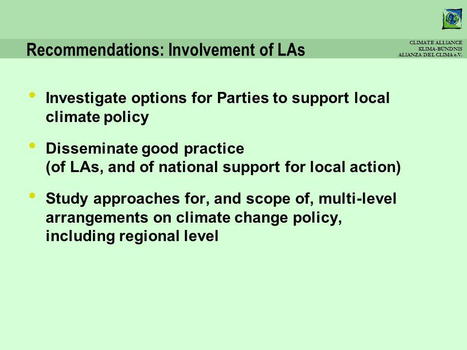 CLIMATE ALLIANCE KLIMA-BÜNDNIS ALIANZA DEL CLIMA e.V. Recommendations: Involvement of LAs Investigate options for Parties to support local climate pol