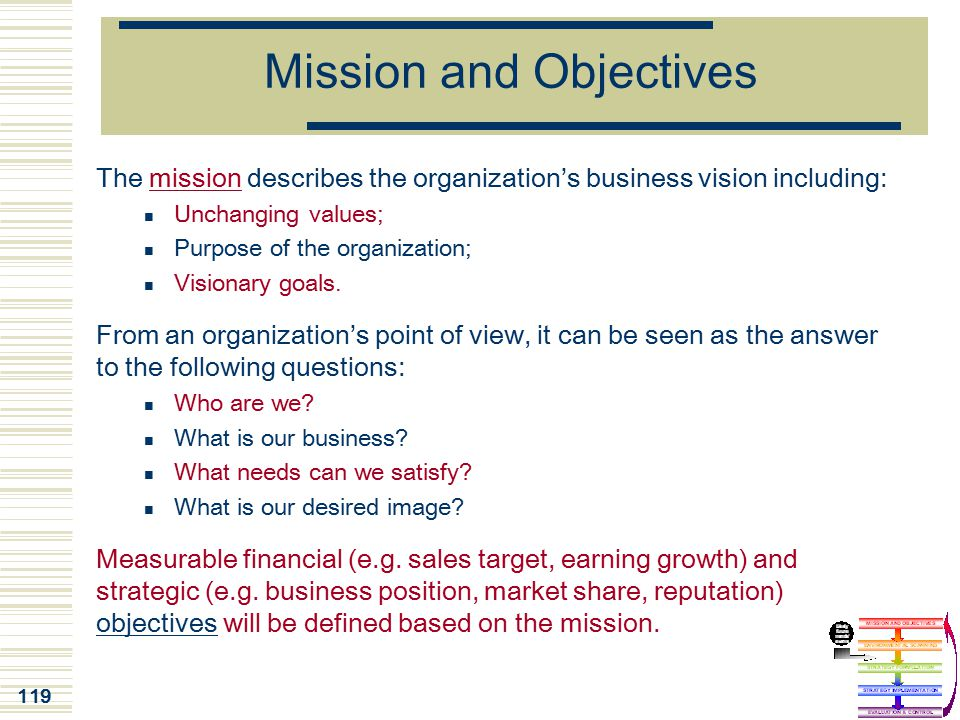 119 Mission and Objectives The mission describes the organization's business vision including: Unchanging values; Purpose of the organization; Visiona
