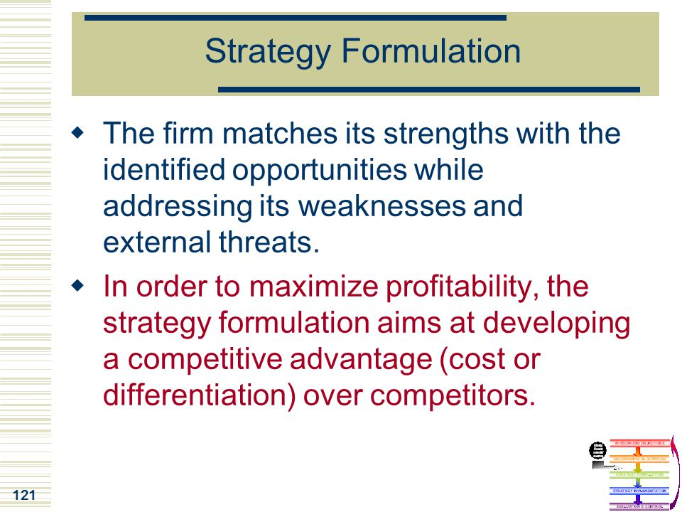 121 Strategy Formulation  The firm matches its strengths with the identified opportunities while addressing its weaknesses and external threats.  In