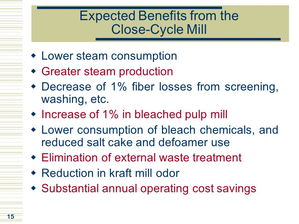 15 Expected Benefits from the Close-Cycle Mill  Lower steam consumption  Greater steam production  Decrease of 1% fiber losses from screening, wash