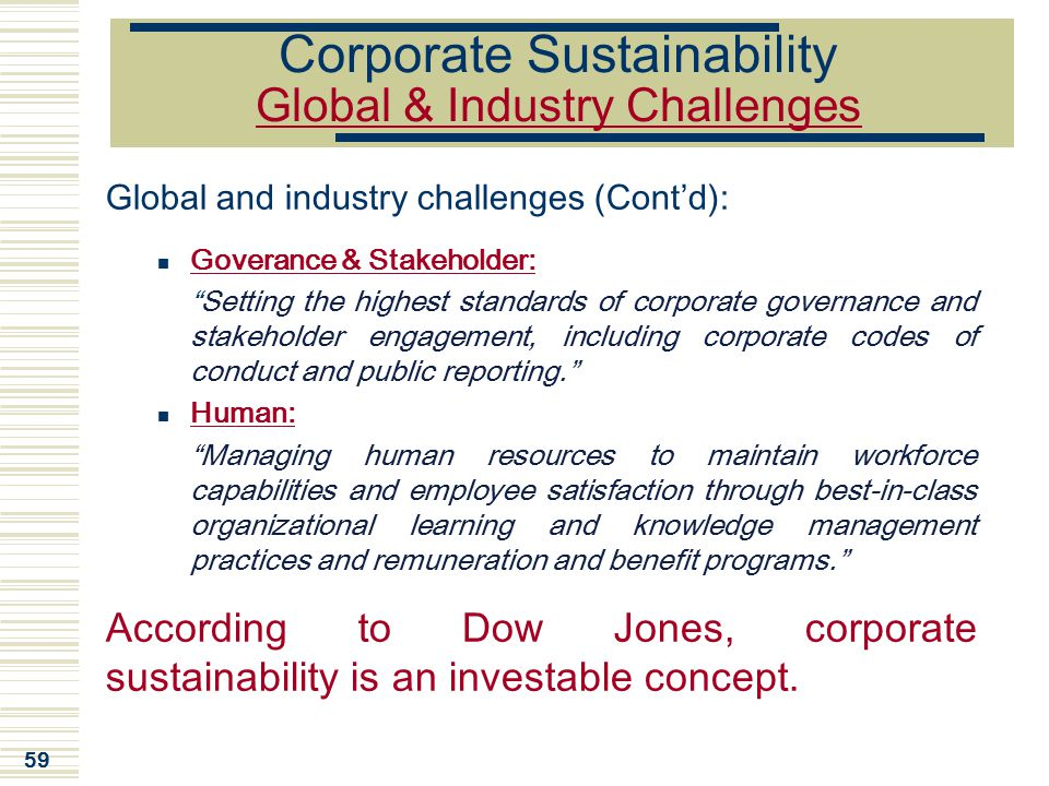 """59 Corporate Sustainability Global & Industry Challenges Global and industry challenges (Cont'd): Goverance & Stakeholder: """"Setting the highest standa"""